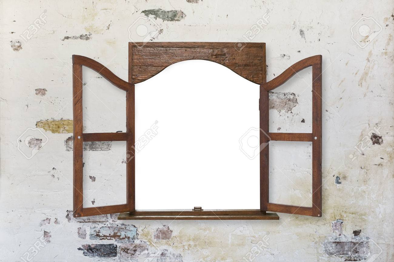 Charmant Stock Photo   Wooden Window Frame On Pastel Toned Old Grungy Wall