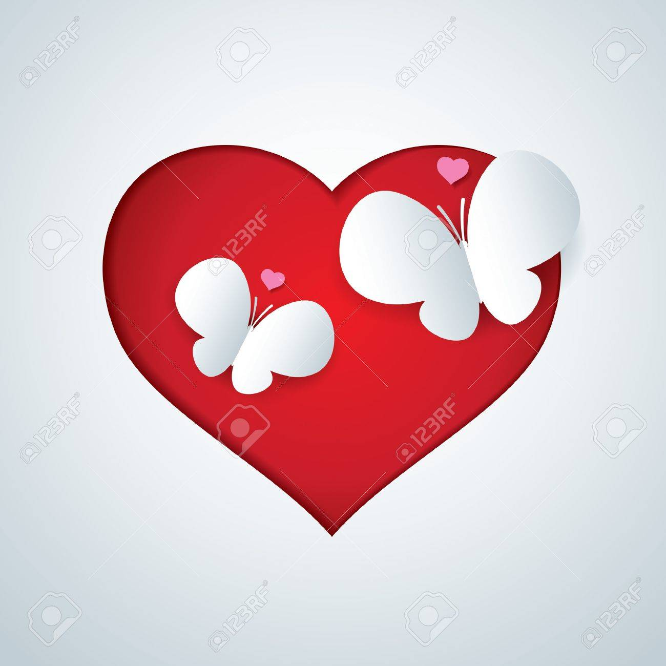 Vector paper butterfly in heart shap Stock Vector - 19222257