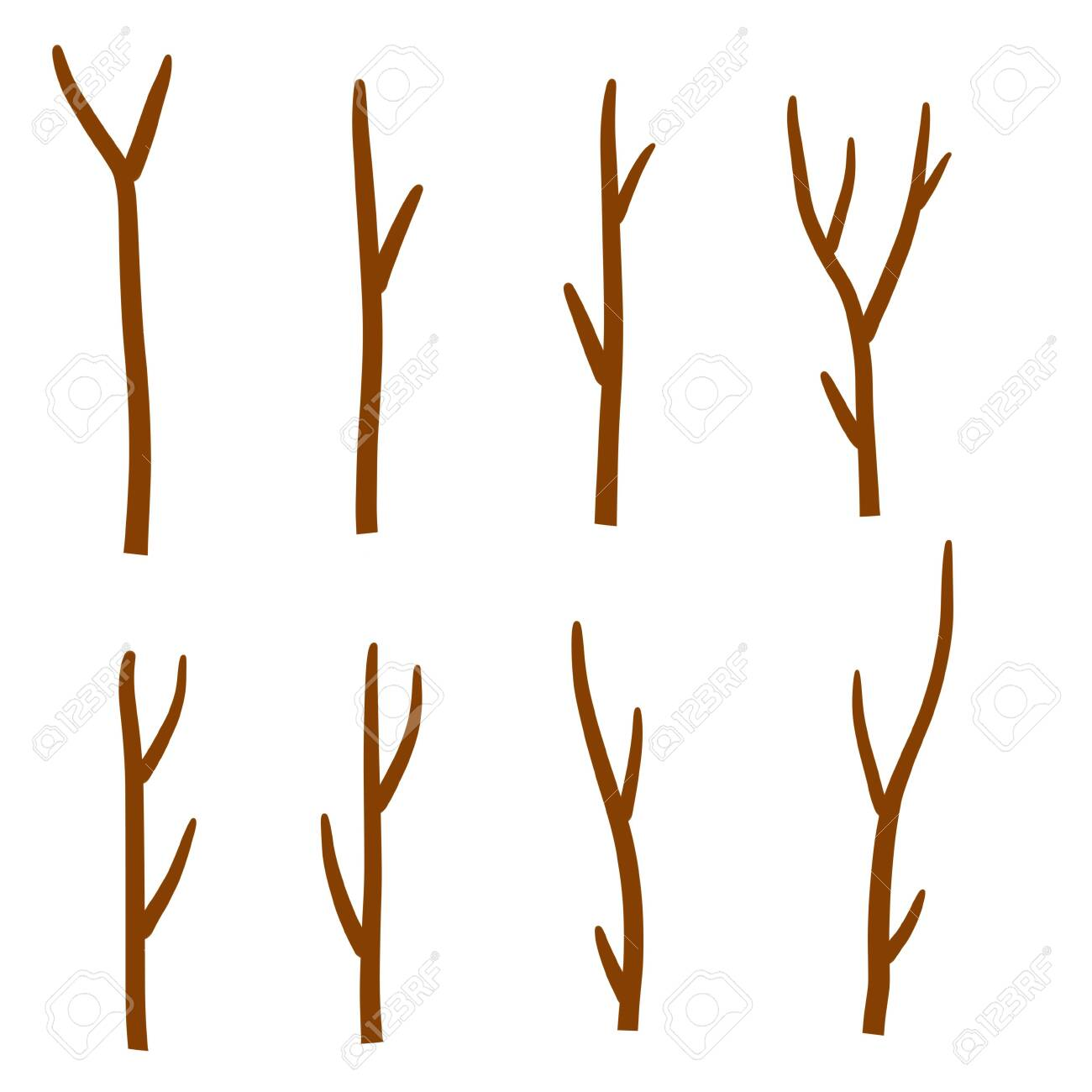 Tree branch. Set of different brown sticks. Cartoon flat illustration. Element of nature, forest or Park isolated on white - 151597981