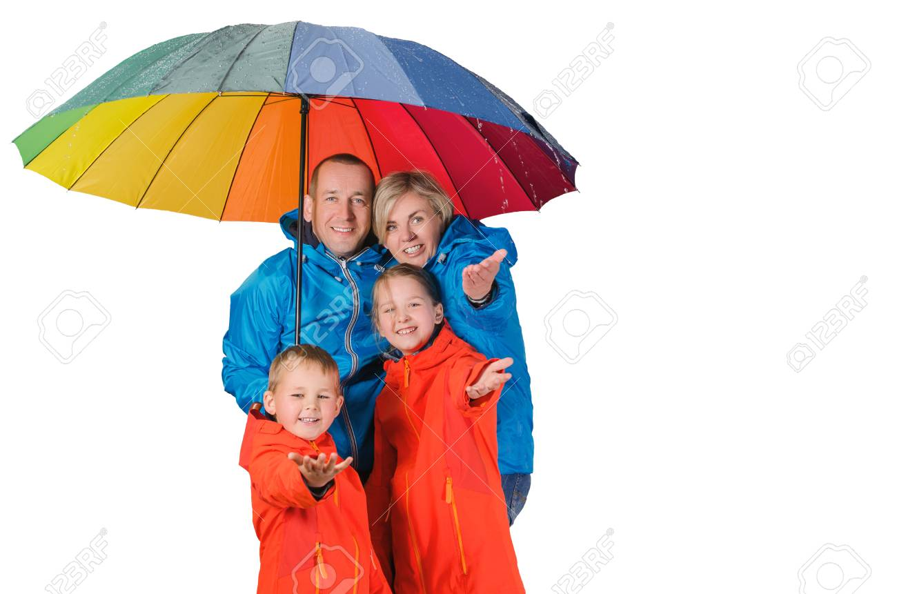 Colorful Family, Mother, Father, Son And Daughter, Have Fun Under ...
