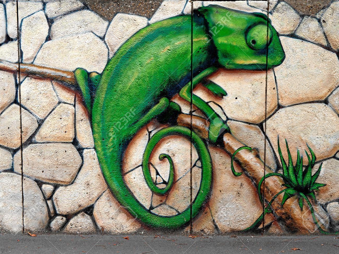 Grafitti wall painting - Wall Painting Graffiti Chameleon Sprite Graffiti Fest 2011 Sofia Bulgaria Photo