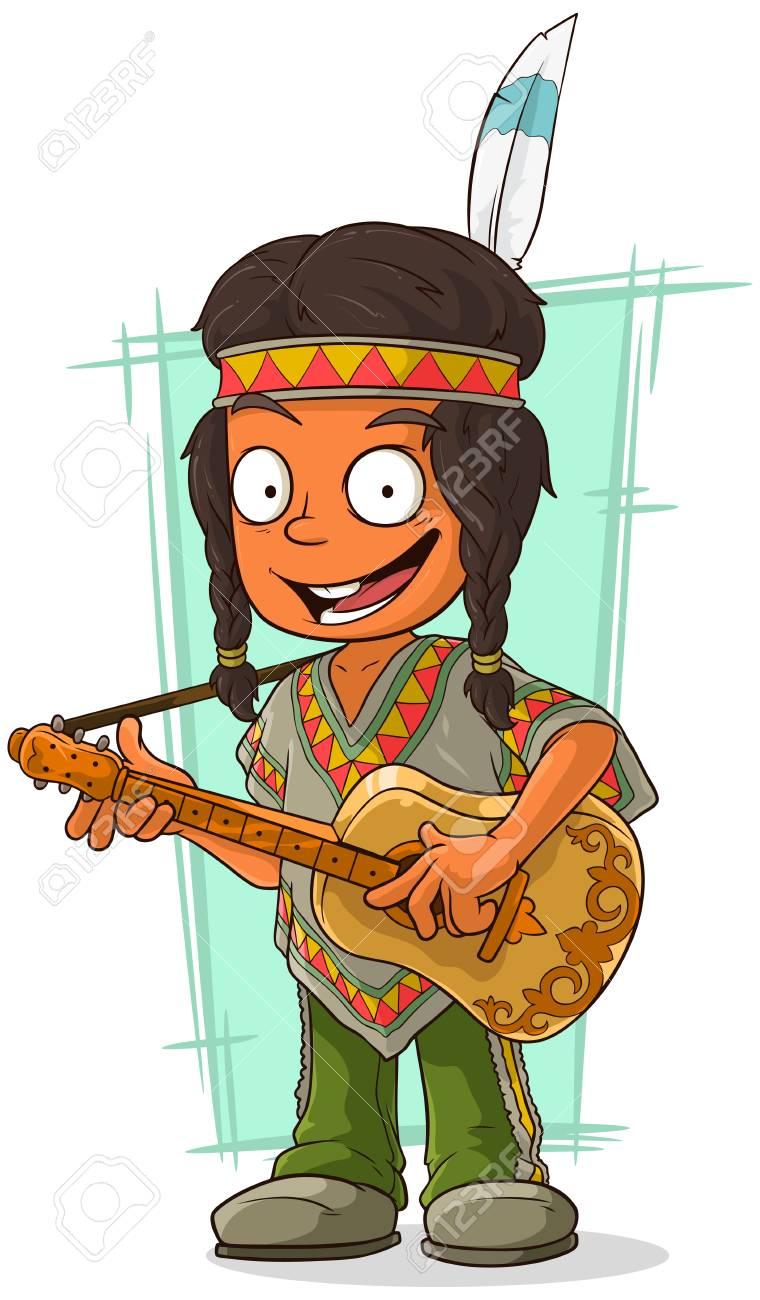 漫画のポンチョのインド少年のベ...