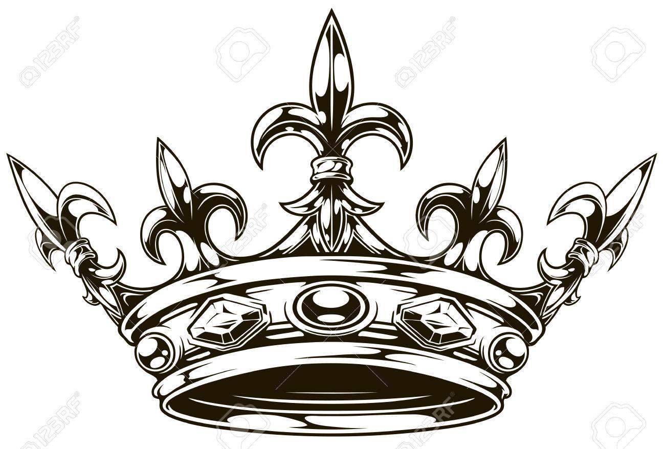 Corona Gráfica Rey Blanco Y Negro Con Vector De Lirio Real Y