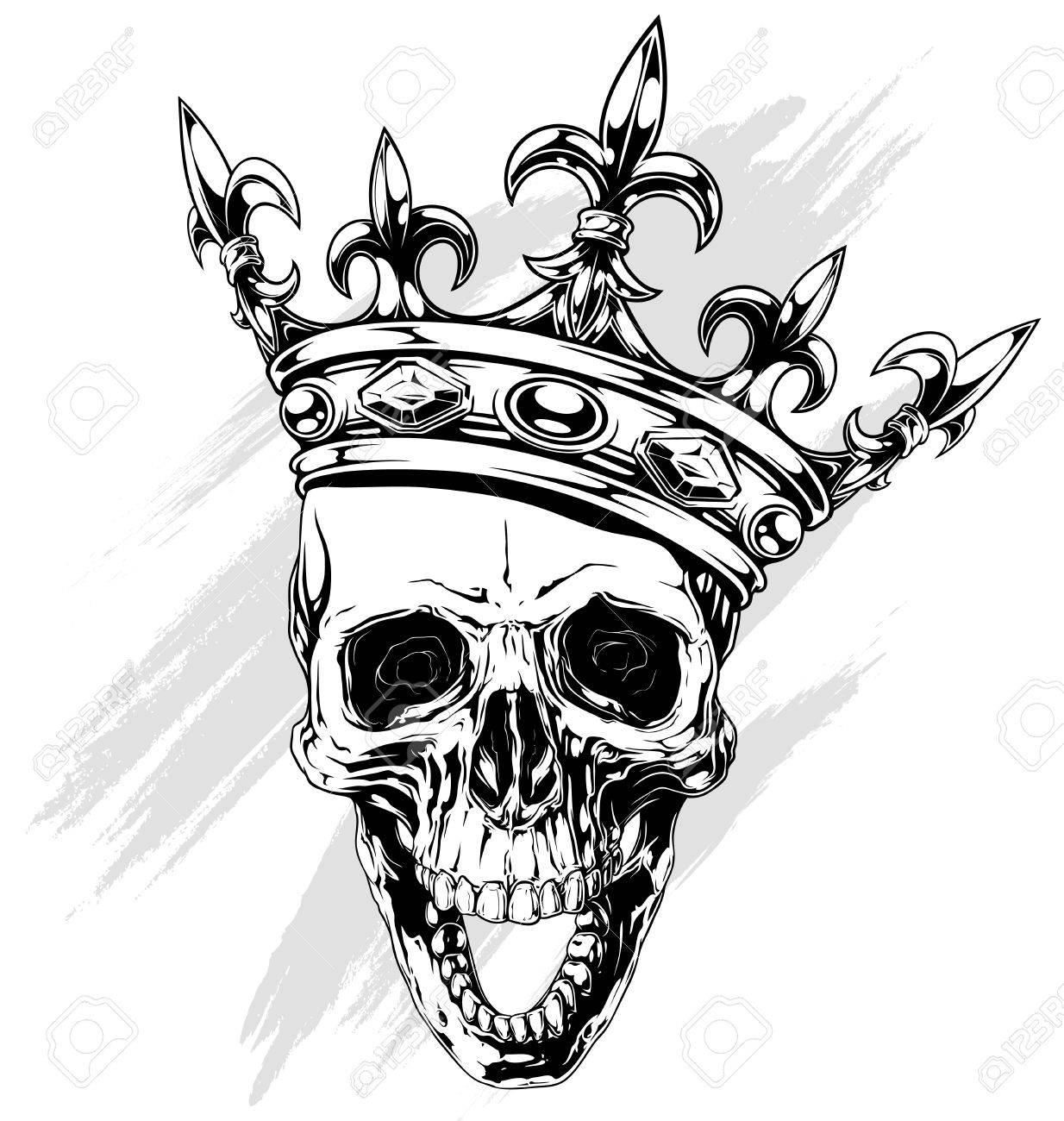 Graphic Schwarz-weiß Menschlichen Schädel Mit Königlichen Lilie ...