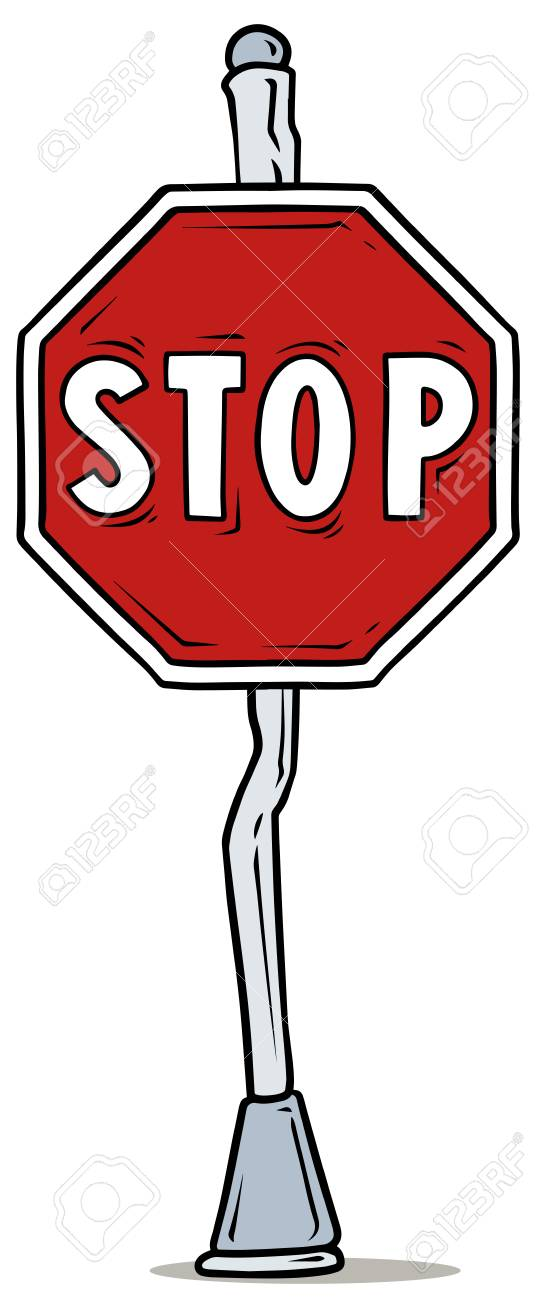 cartoon red stop traffic sign on steel pole vector illustration rh 123rf com bus stop sign cartoon stop sign cartoon image