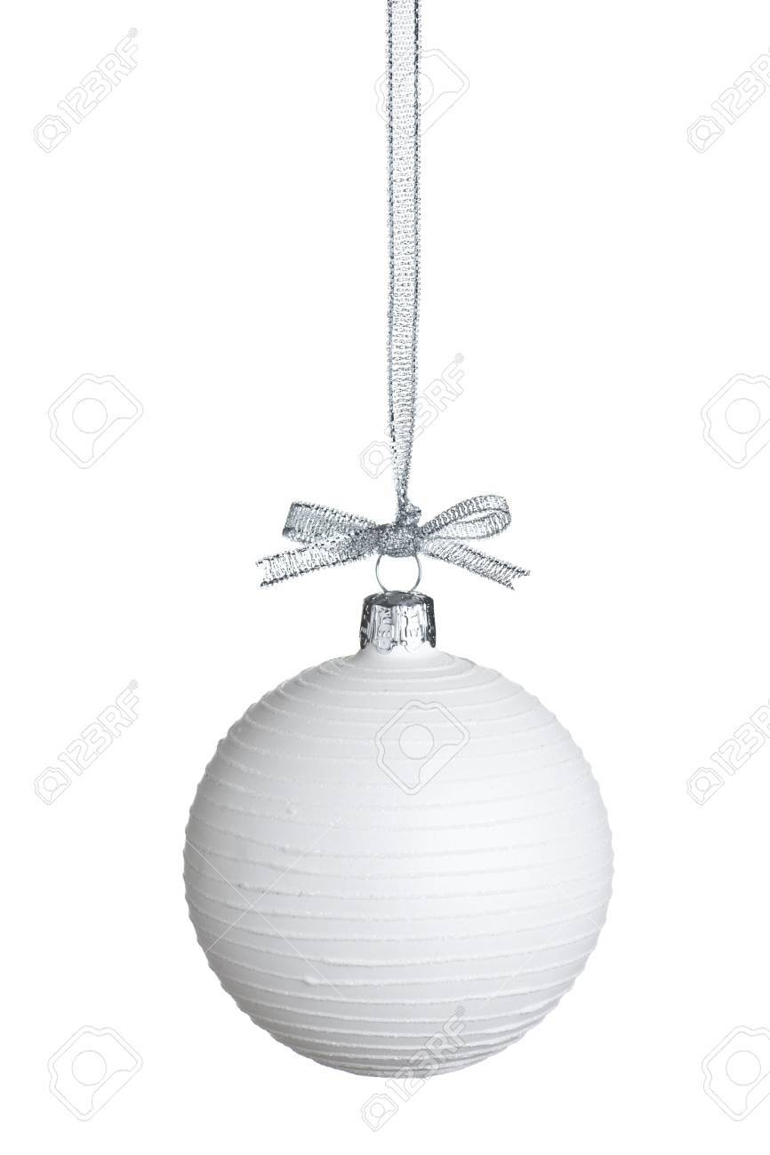 White Christmas ball with silver string isolated on pure white background. Stock Photo - 11703259