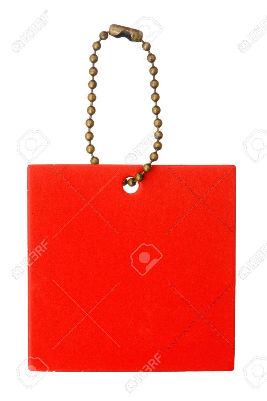 A blank red square label with chainlet isolated on white background Stock Photo - 11703341