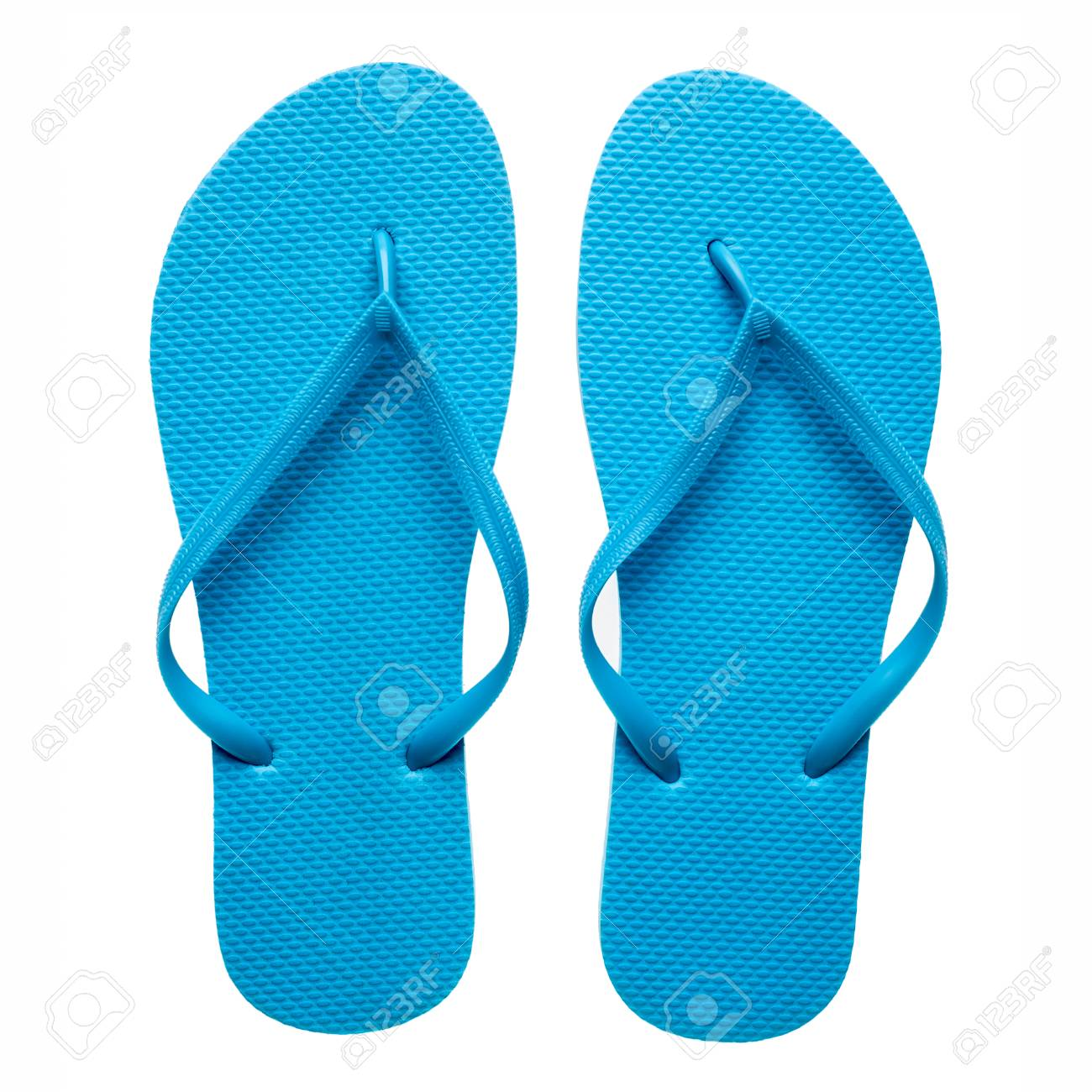 7671e6f5feb9 Pair of blue flip-flops isolated on a white background. Stock Photo -  40876160
