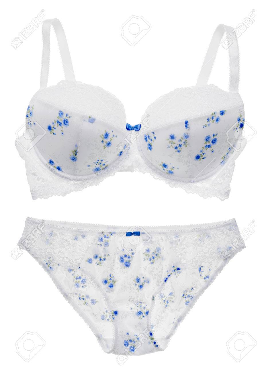 2e2feac4ce Stock Photo - White in a floral pattern bra and panties lingerie set  isolated on white background.