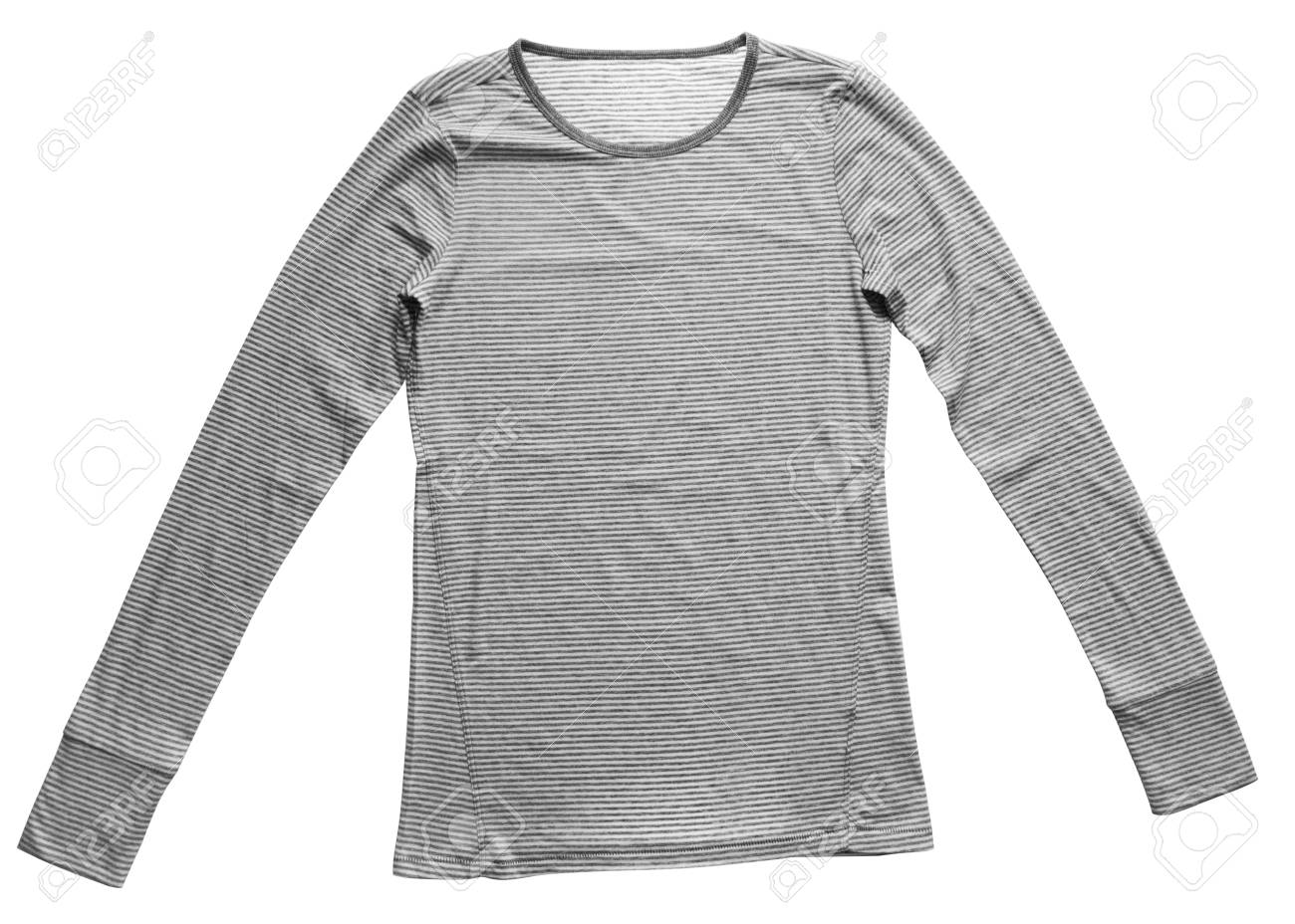 8ce9413d Stock Photo - Striped grey female blouse t-shirt isolated on white  background.