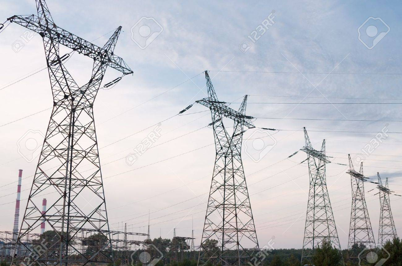 Transmission power line in sunset Stock Photo - 7929902