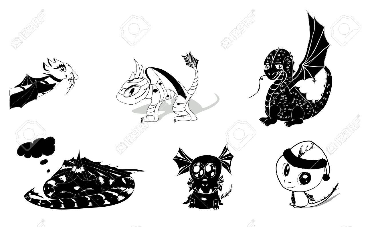 vector set of 6 dragons silhouettes cute and cartoony  eps 8 Stock Vector - 12491248