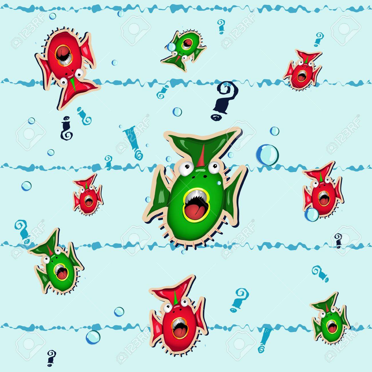 A seamless background with funny surprised fishes Stock Vector - 12825618