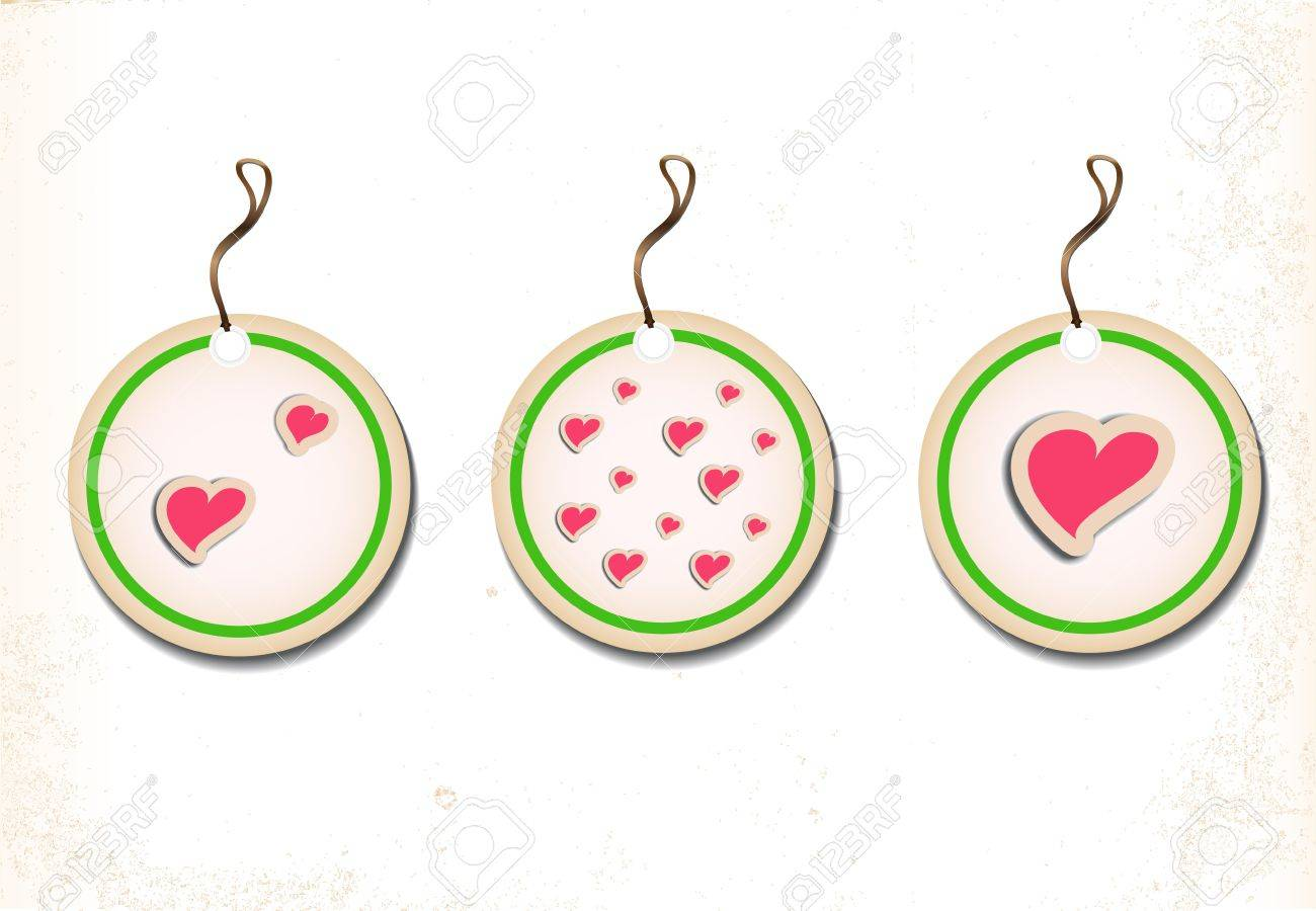A set of round labels with hearts on an old paper  Vector illustration Eps8 Stock Vector - 12940464