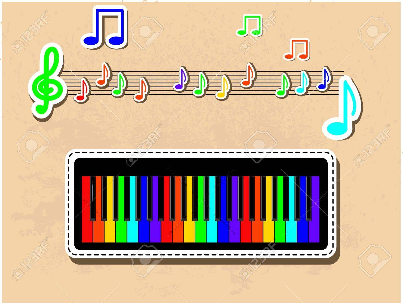 Colorful piano and notes musical set Stock Vector - 13070285