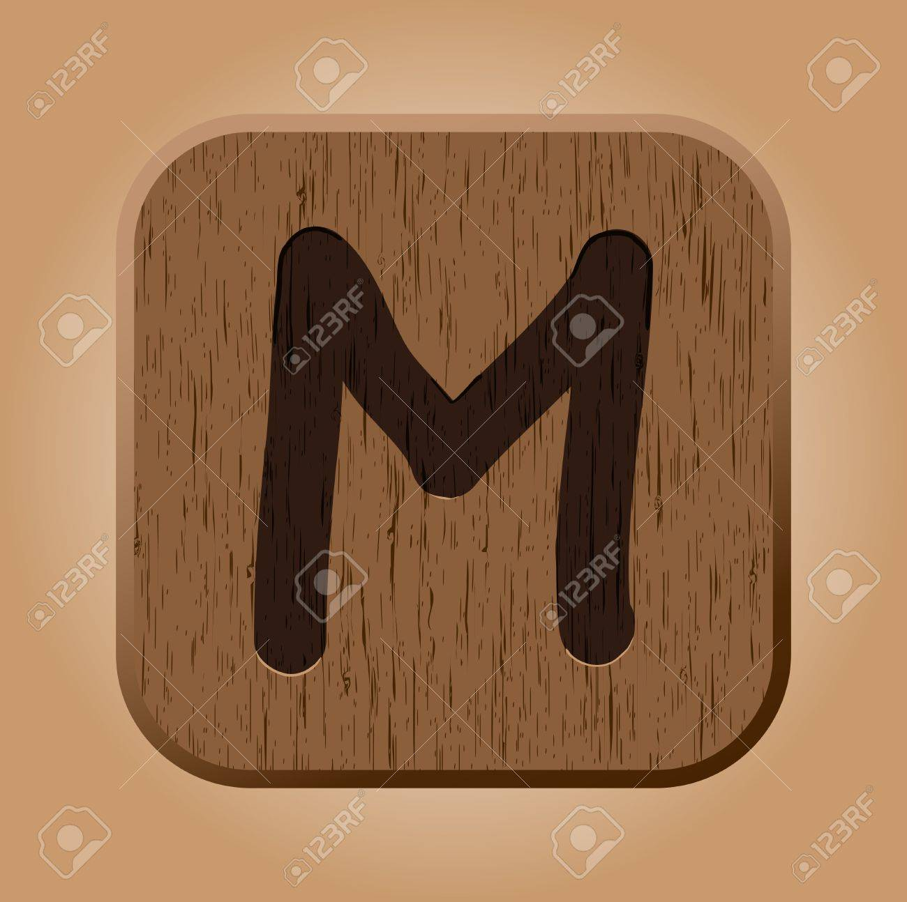 hand drawn wooden letter m stock vector 13392506
