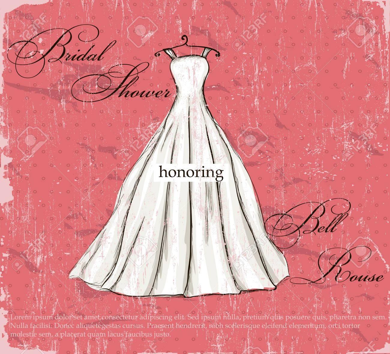 Cartel De La Vendimia Con La Ilustración Hermoso Vestido De Novia ...
