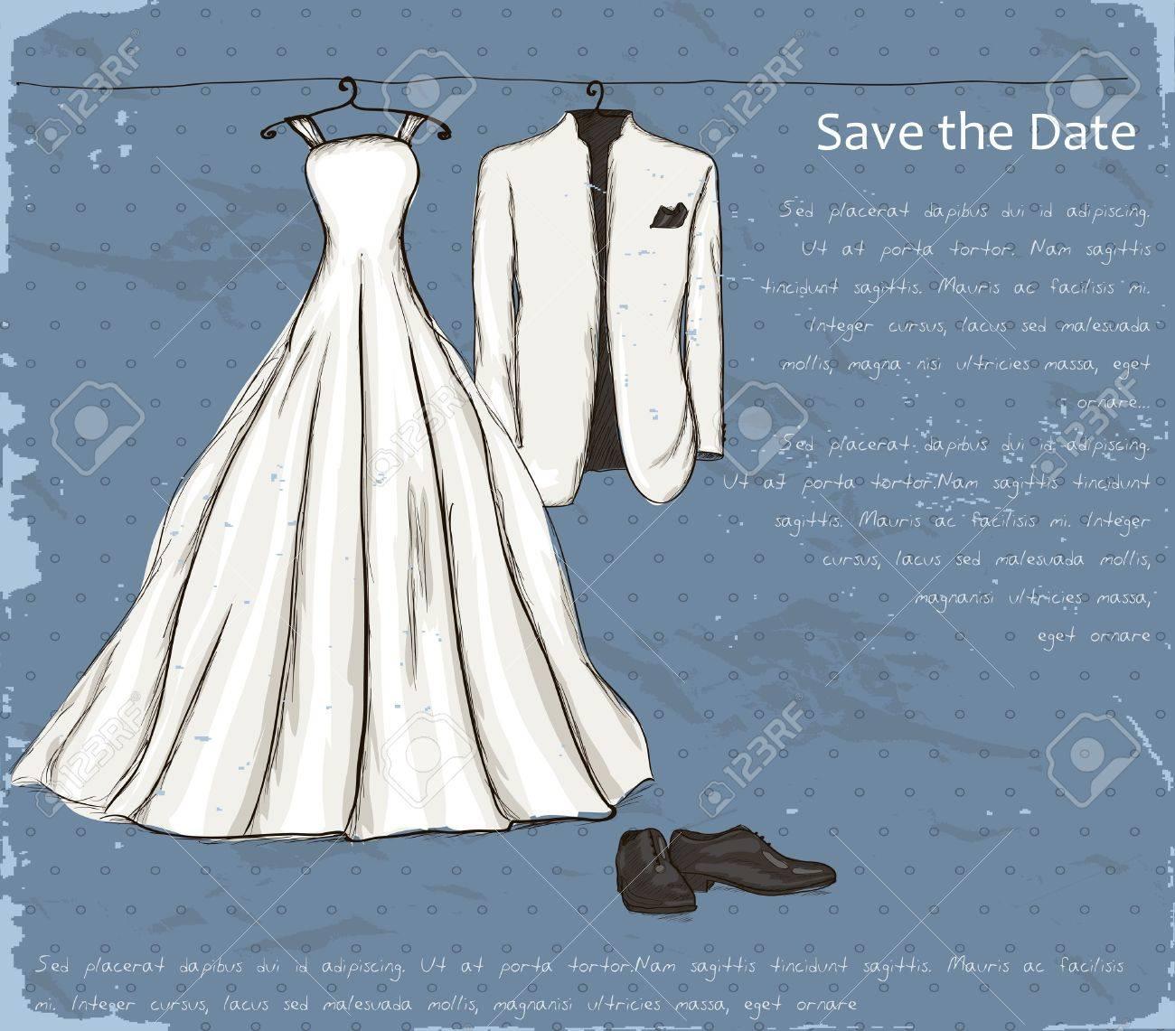 結婚式のドレスとタキシードのイラストとビンテージのポスター