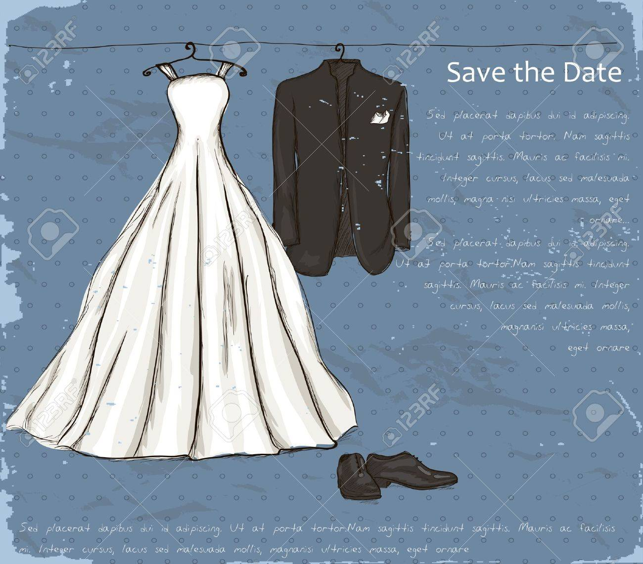 Vintage Poster With With A Wedding Dress And Tuxedo Illustration ...