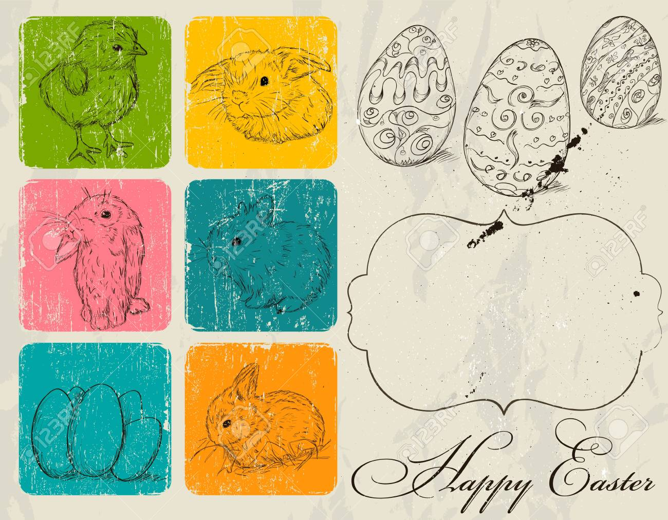 Vintage poster about Easter Stock Vector - 18247607