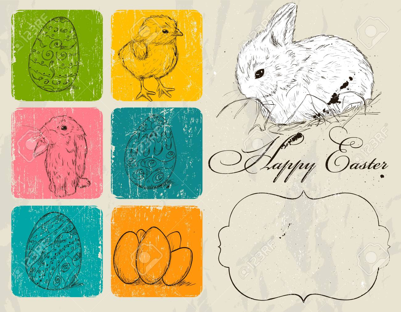 Vintage poster about Easter Stock Vector - 18247604