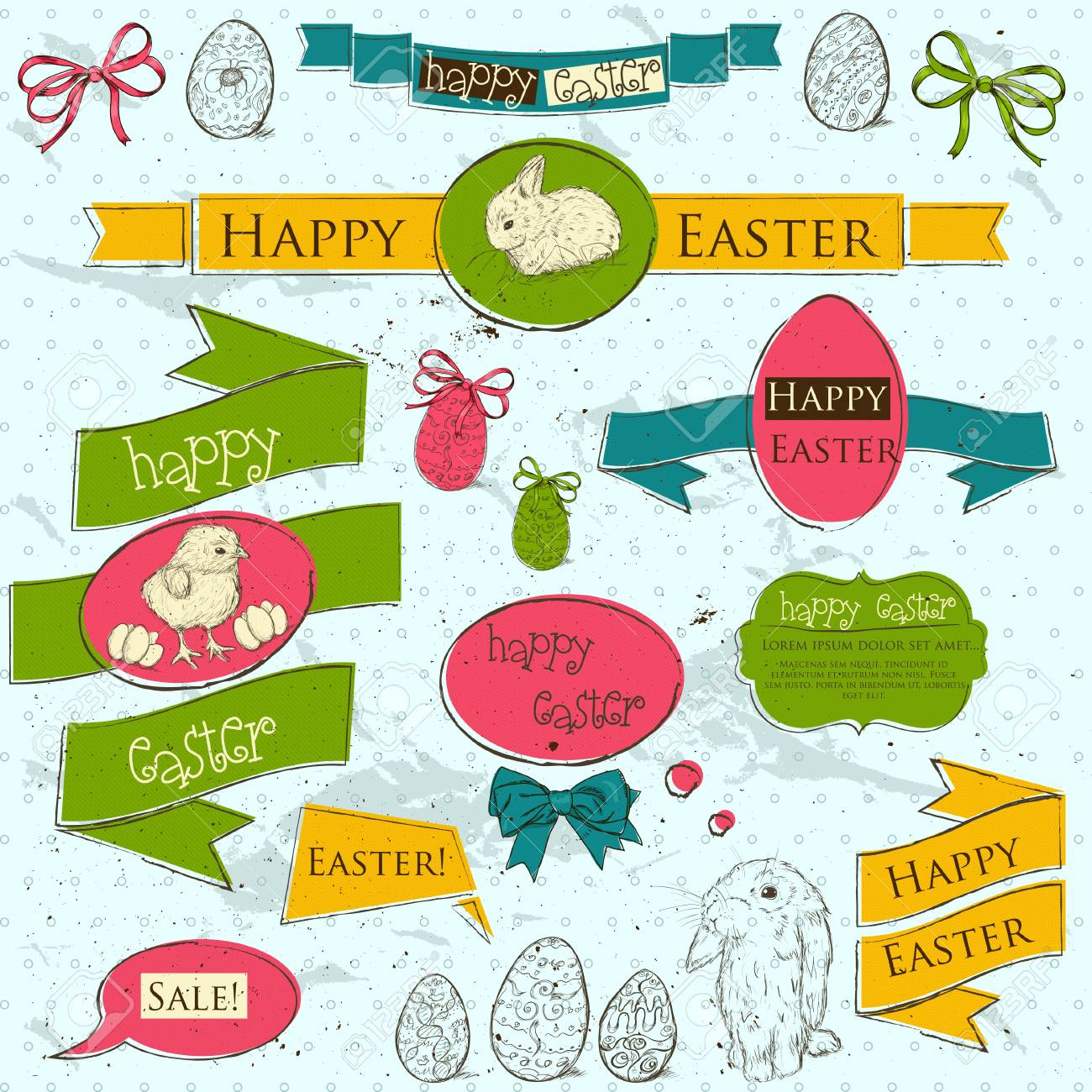 Set of vintage deign elements about Easter  Vector illustration EPS10 Stock Vector - 18275459