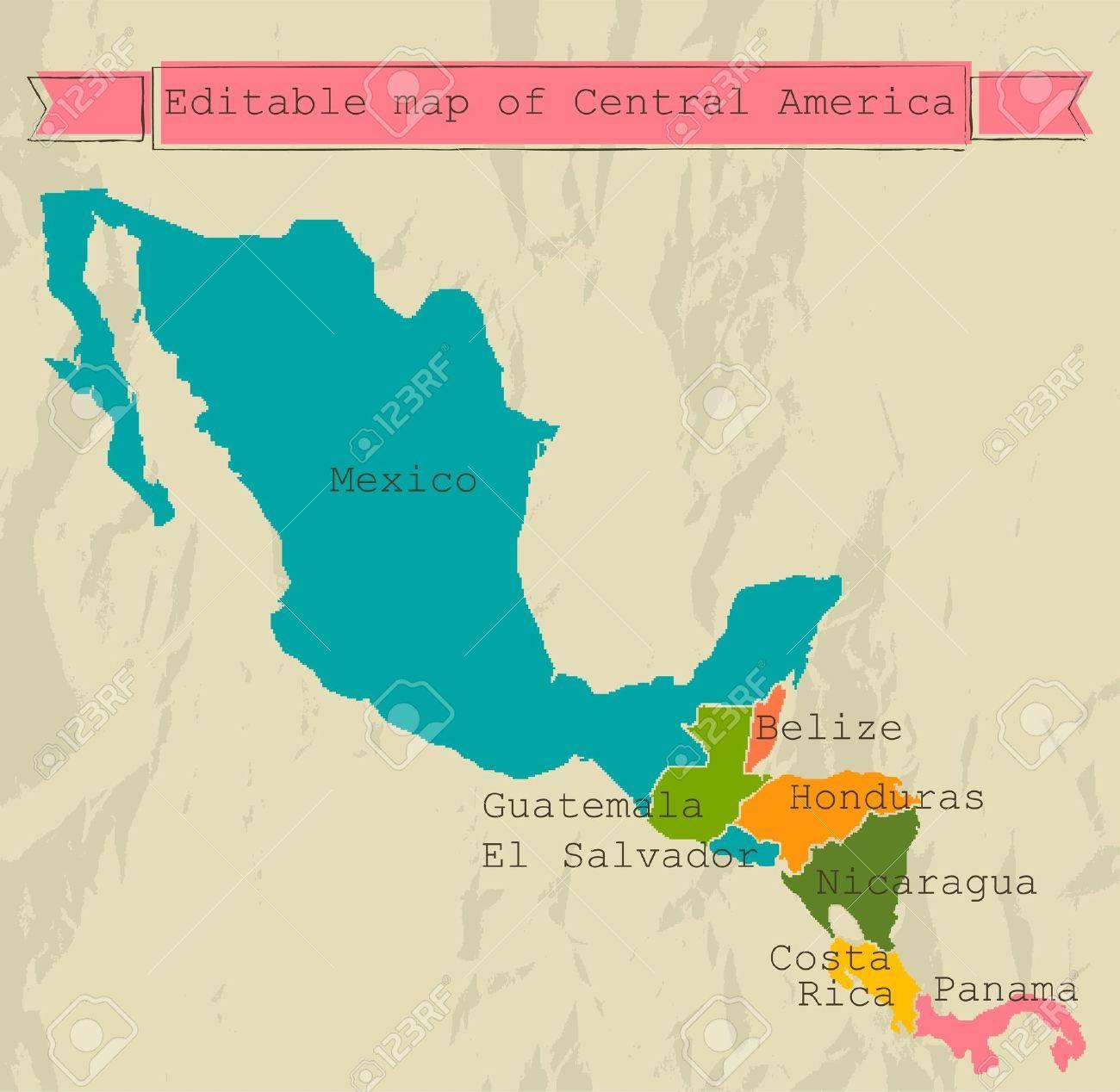 Editierbare Landkarte Zentralamerika Mit Allen Landern Lizenzfrei