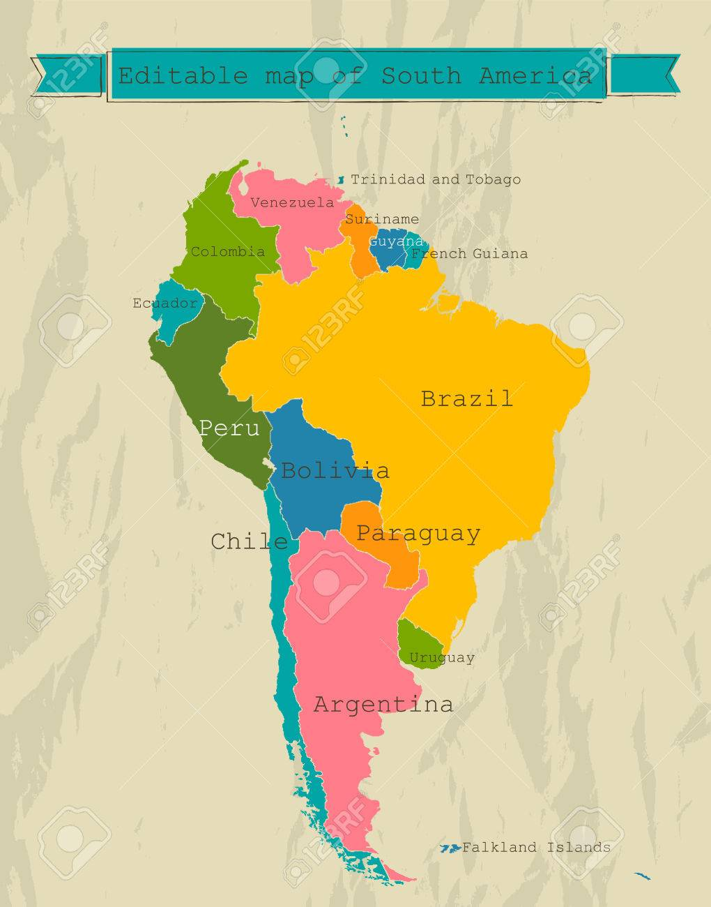 Editable South America Map With All Countries Royalty Free - South america map brazil