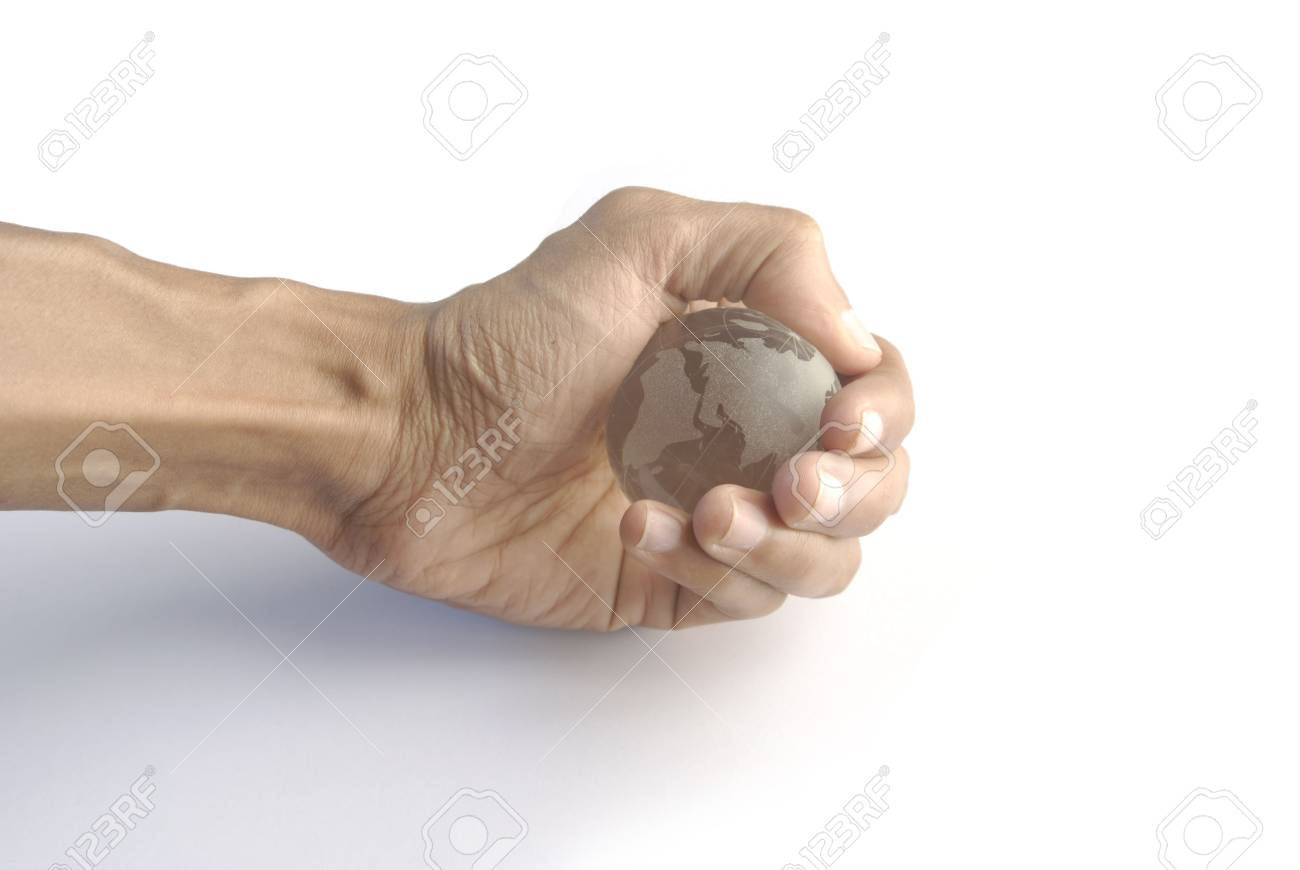 Hand gripping crystal globe - 3660330