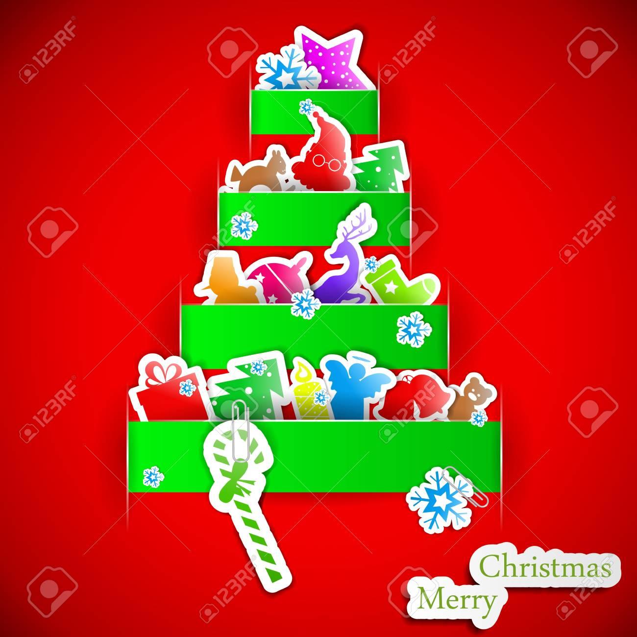 Green stripe christmas paper tree Stock Vector - 15914967