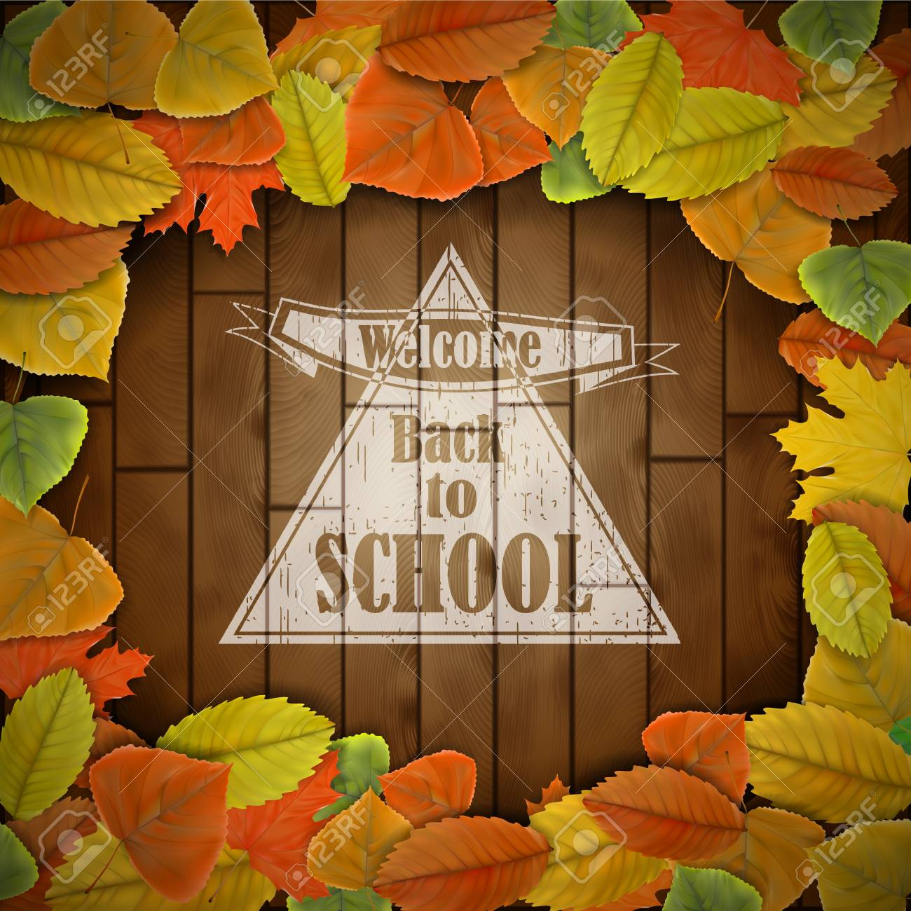 Back to school wood board with leaves Stock Vector - 21526397