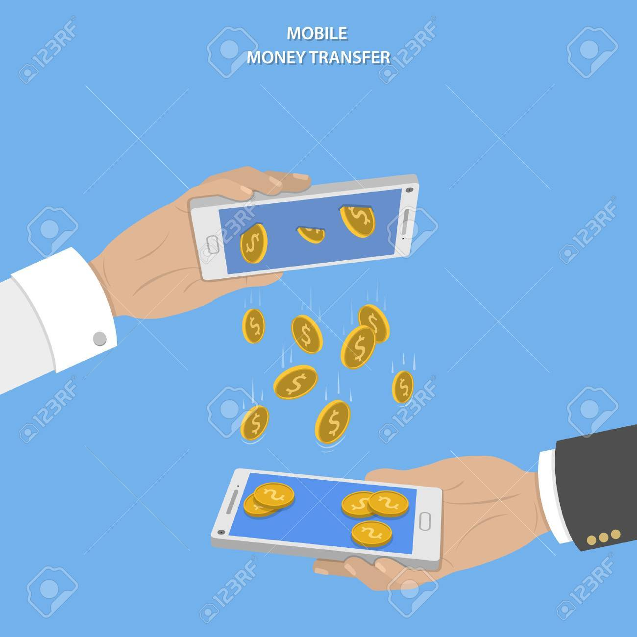 Mobile money transfer vector concept. Two hands take mobile devices and exchange coins. - 42439833