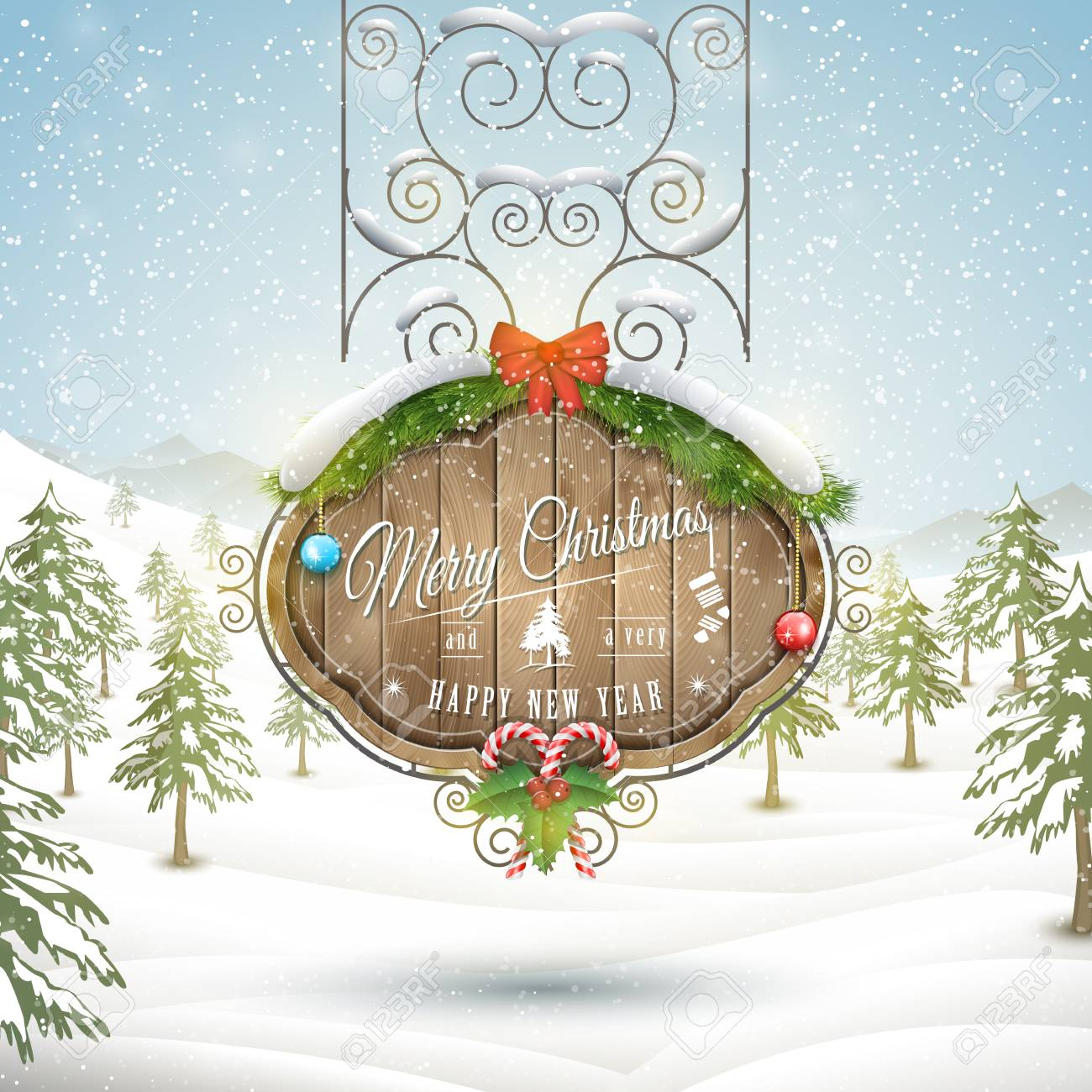 Decorated Wooden Board With Christmas Greeting Vector Illustration