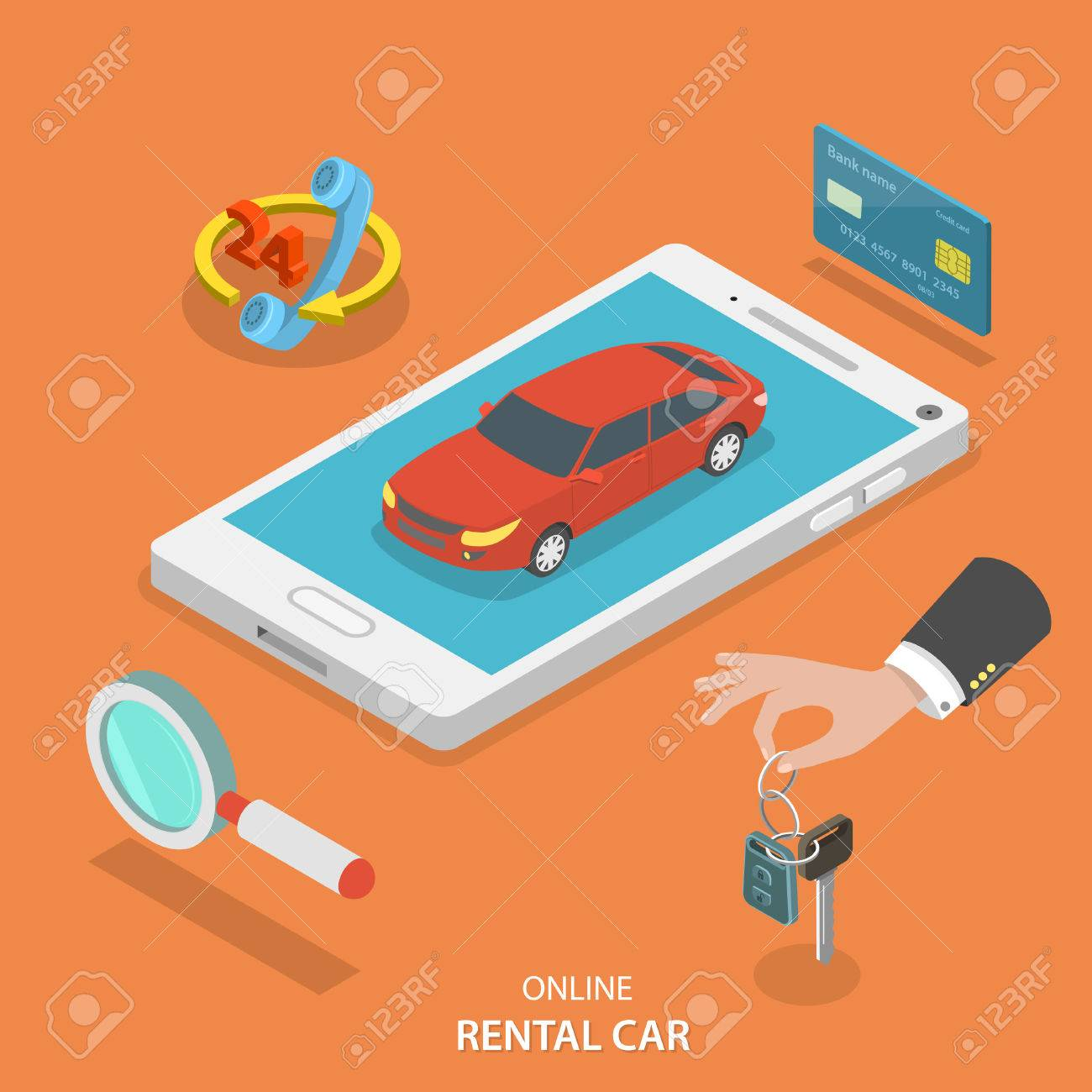 Online rental car service isometric flat vector concept. Red car on the mobile phone surrounded by thematic icons. - 48713616
