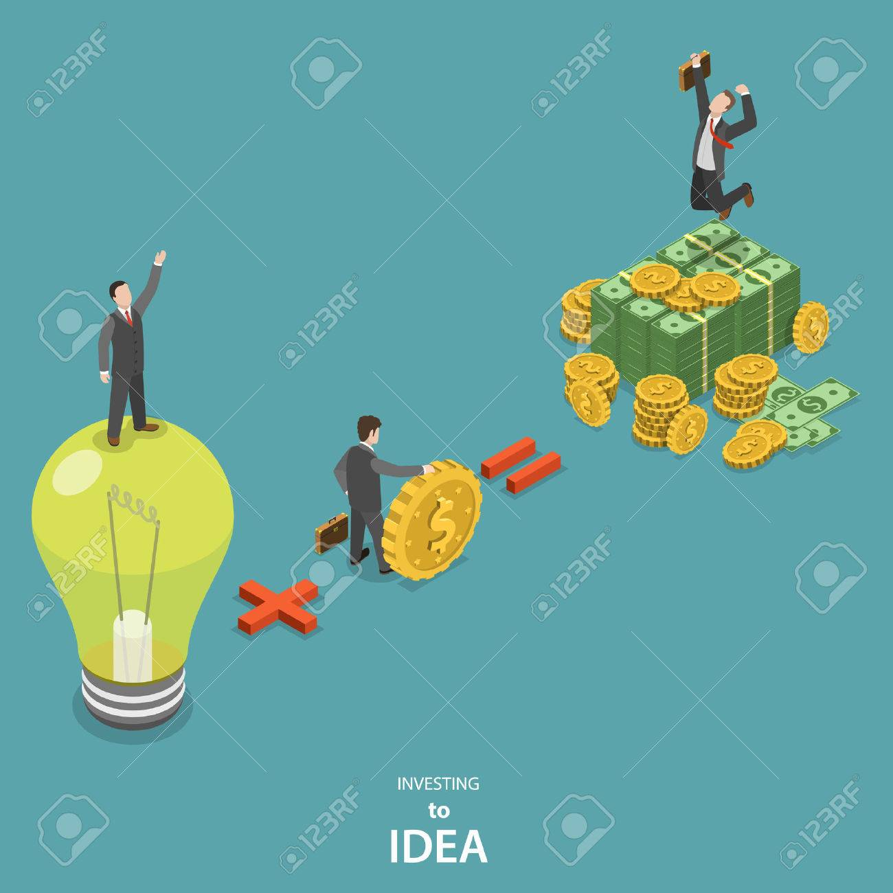 Investing into idea isometric flat vector concept. Idea plus investor is a huge profit. - 50042289