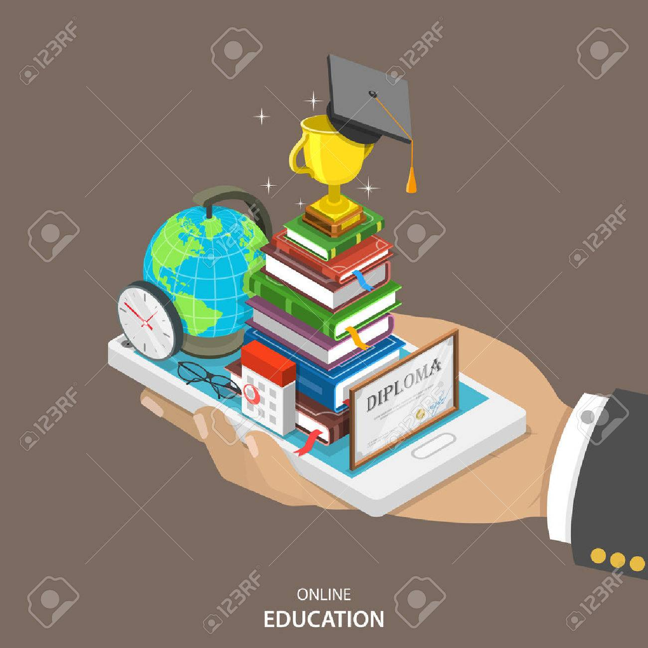 Online education isometric flat vector concept. Mans hand holds a mobile phone with education attributes like books, diploma, graduation hat. Distant learning service. - 50042298
