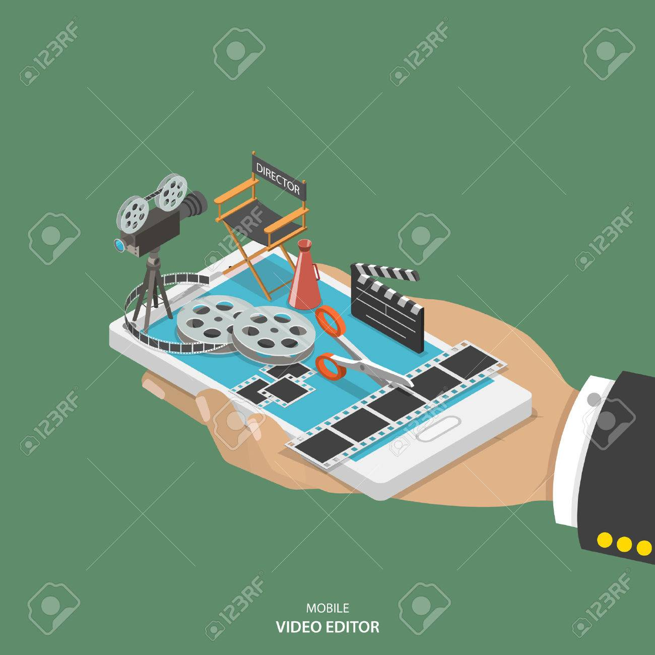 Mobile video editor flat isometric vector concept. Hand with smartphone and equipment for movie creating like film strip, camera, directors chair on it. - 50042303