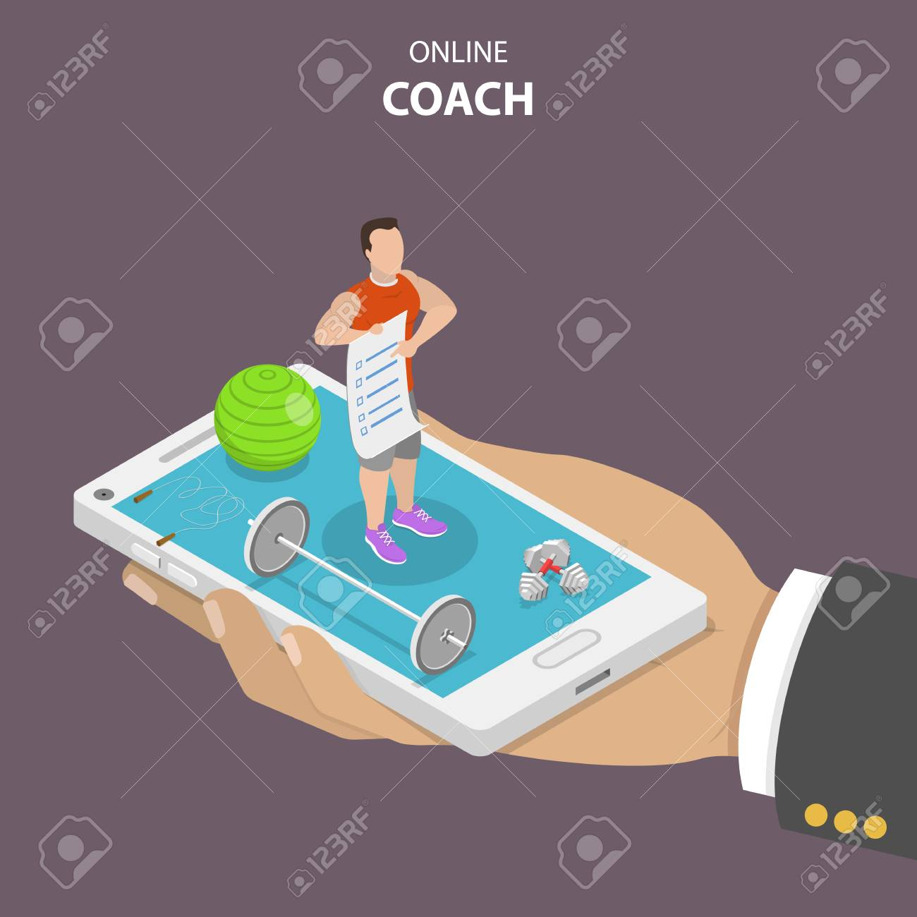 Online coach flat isometric vector concept. Hand is holding a smartphone with a fitness instructor on it that is surrounded by sport requisites. Instructor is holding in his hand a training program. - 91316760