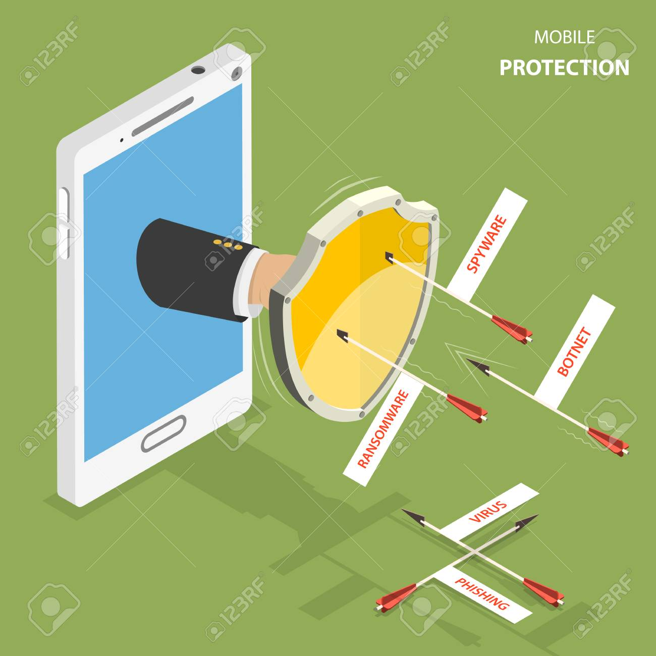 mobile protection flat isometric vector concept man hand with