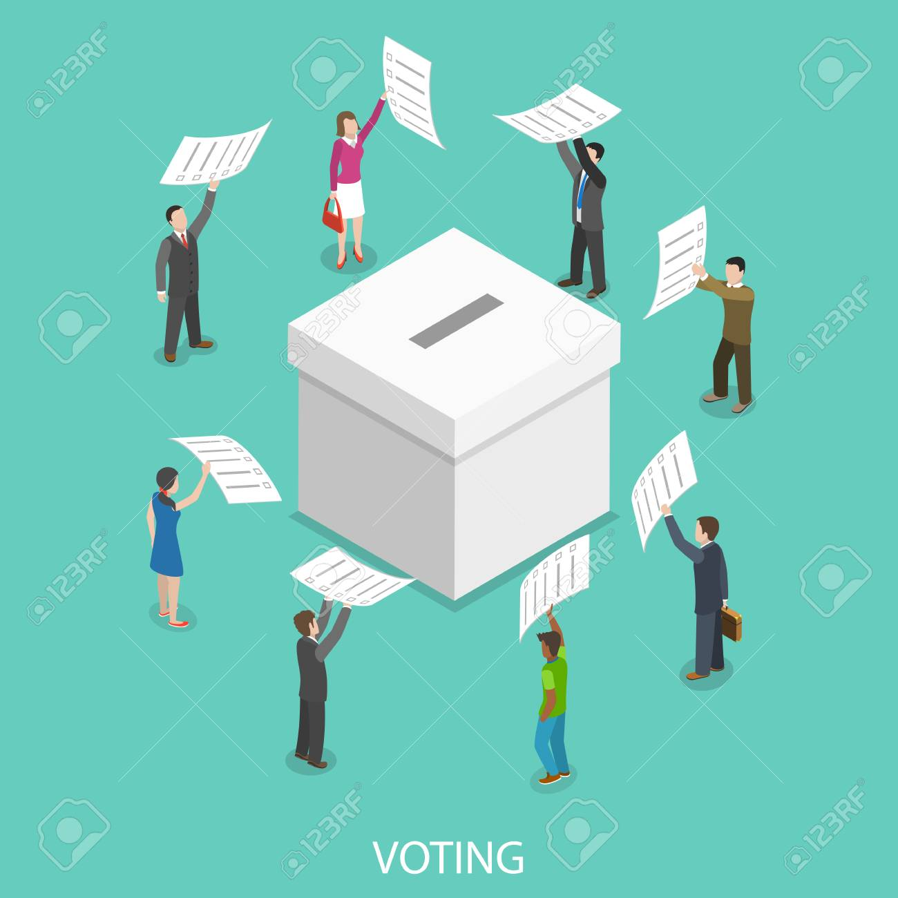 Voting flat isometric vector concept. - 93388808