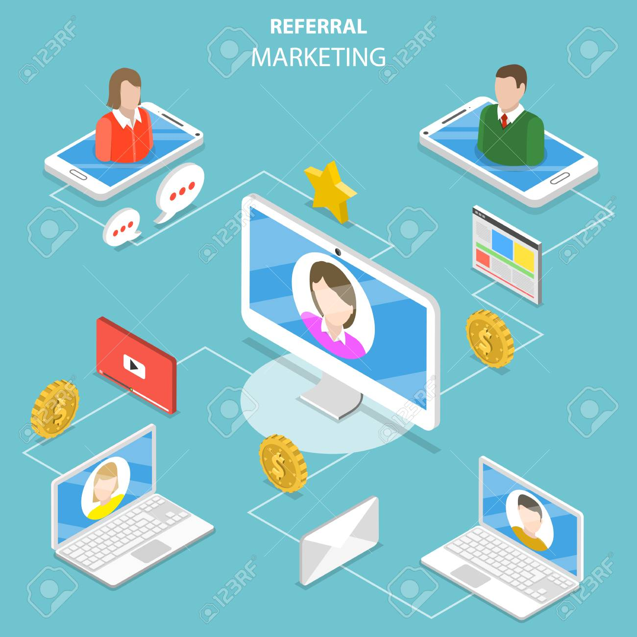 Referral marketing flat isometric vector concept. - 96272223