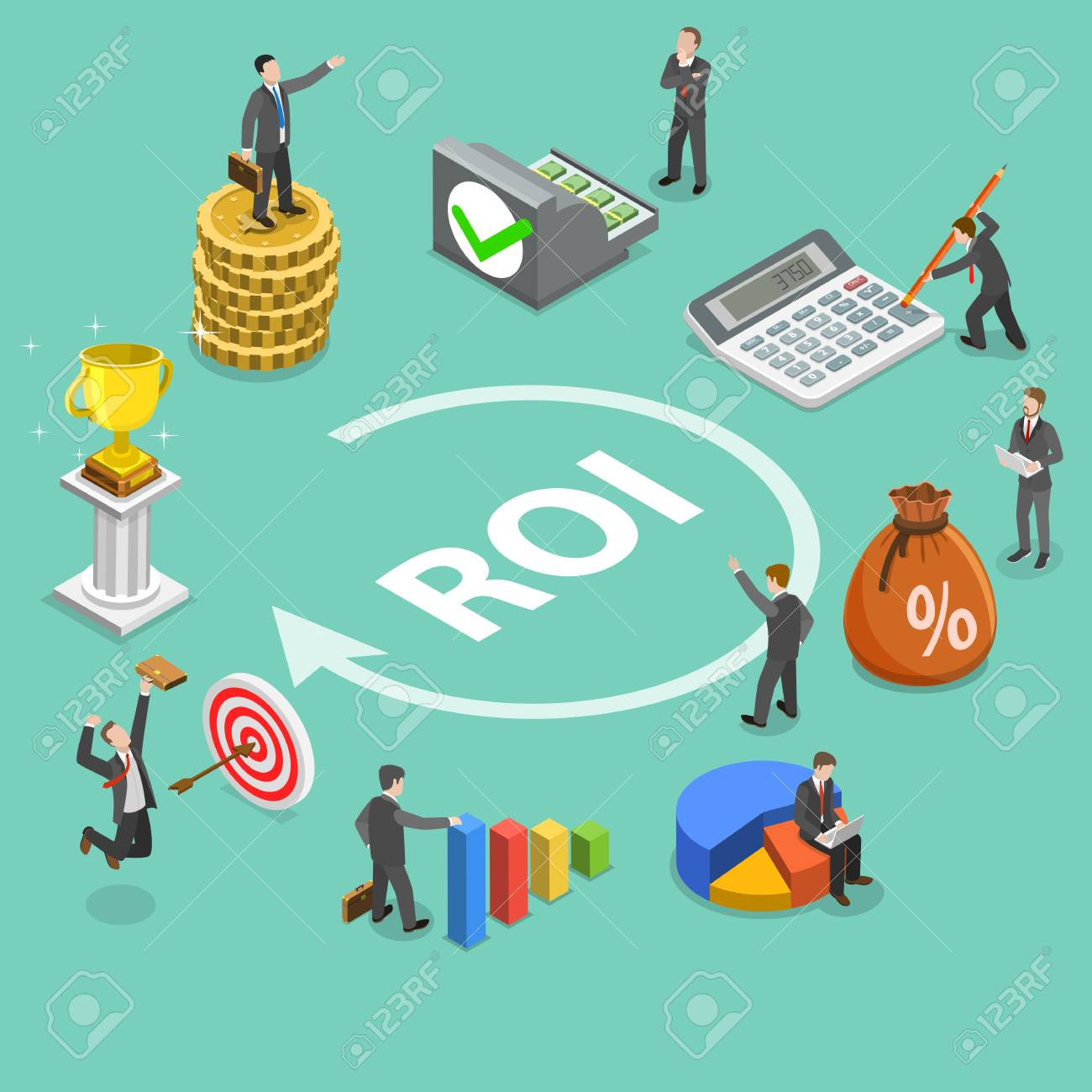 Return on investment flat isometric vector concept - 96272270