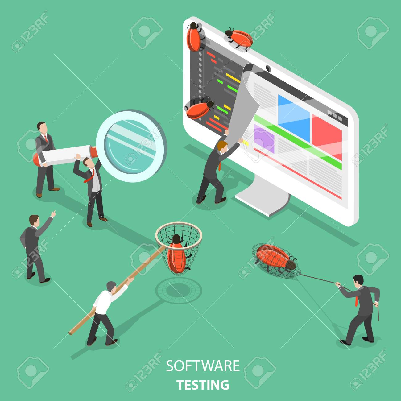Software testing flat isometric vector concept. - 96718826
