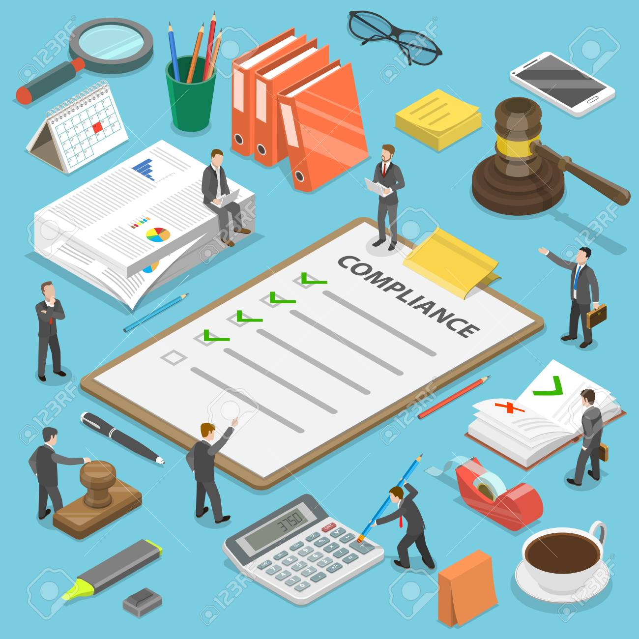 Regulatory compliance flat isometric vector concept. - 97271605