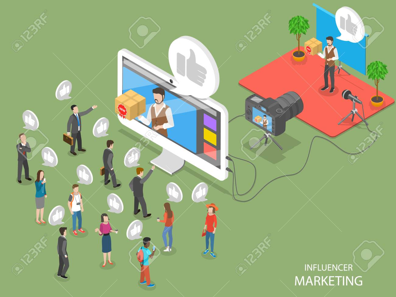 Influencer marketing concept flat isometric vector concept - 97280163