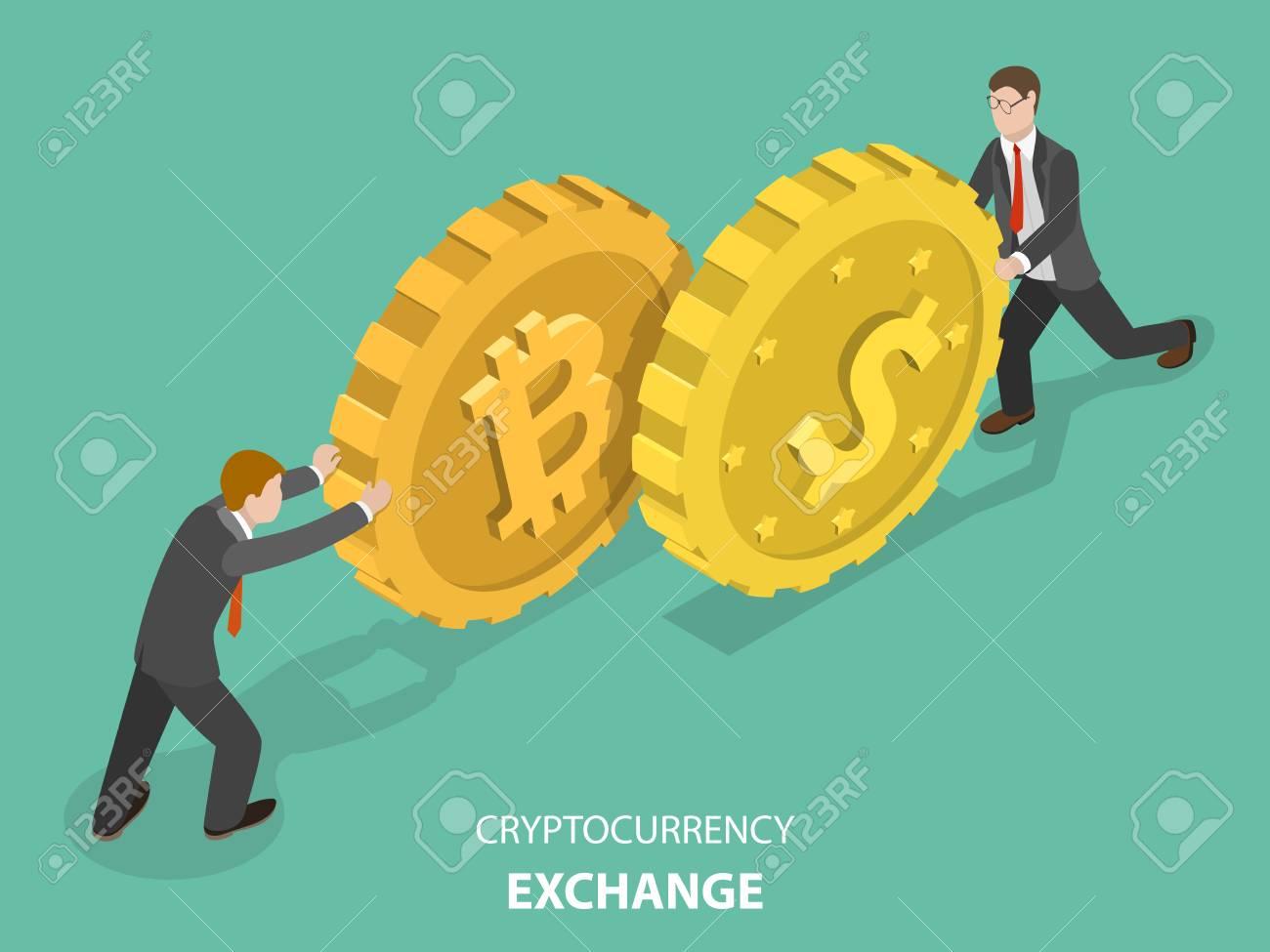 Cryptocurrency exchange concept flat isometric vector. - 97280160