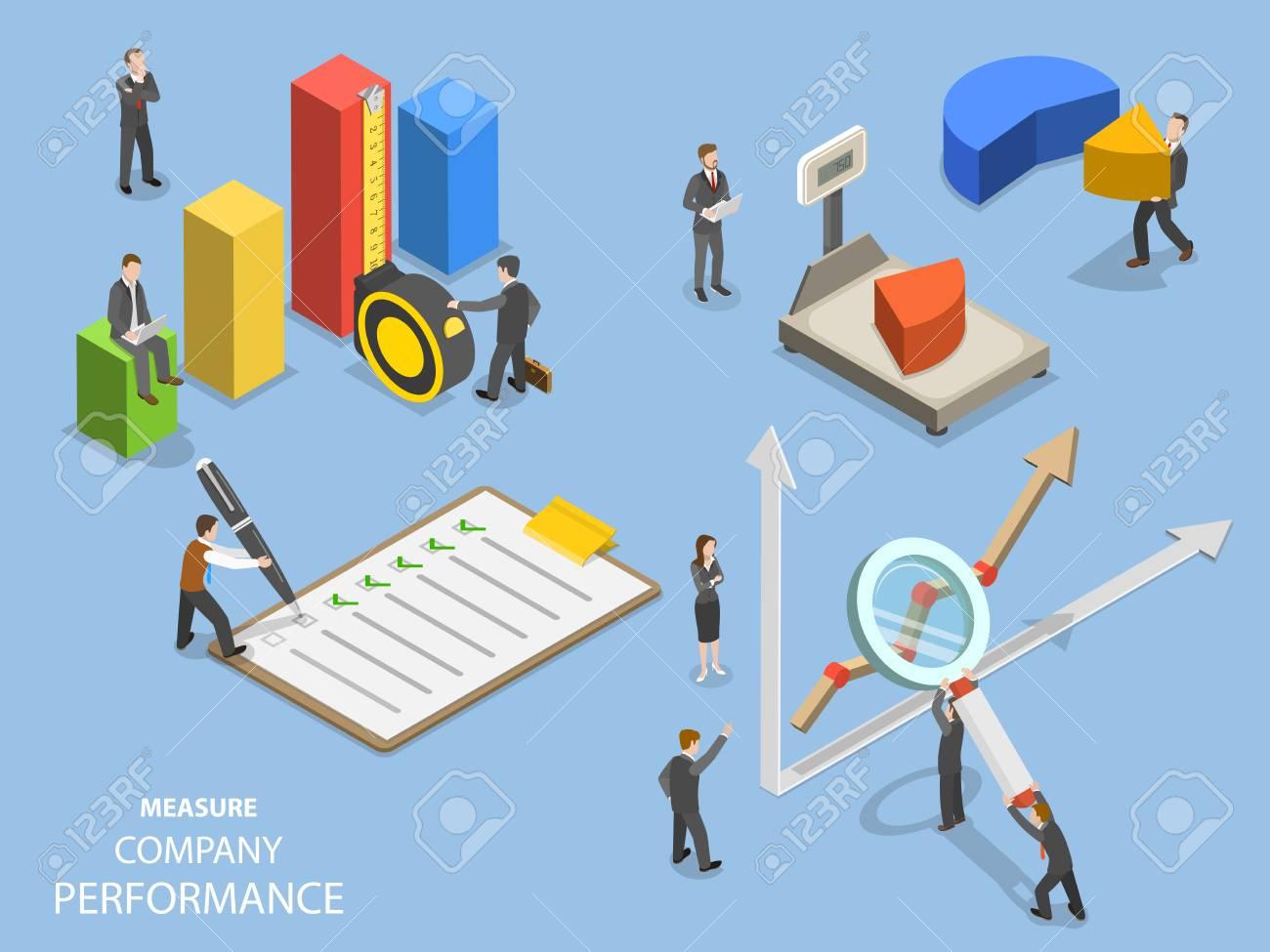 Business benchmarking flat isometric vector. - 98259334