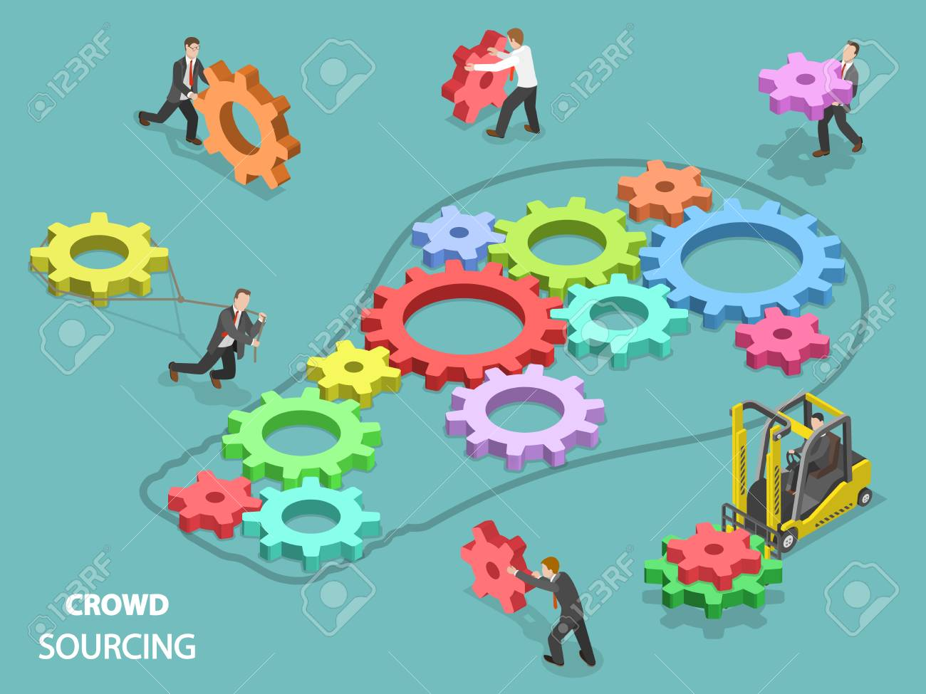 Crowd sourcing flat isometric vector concept. - 98590292