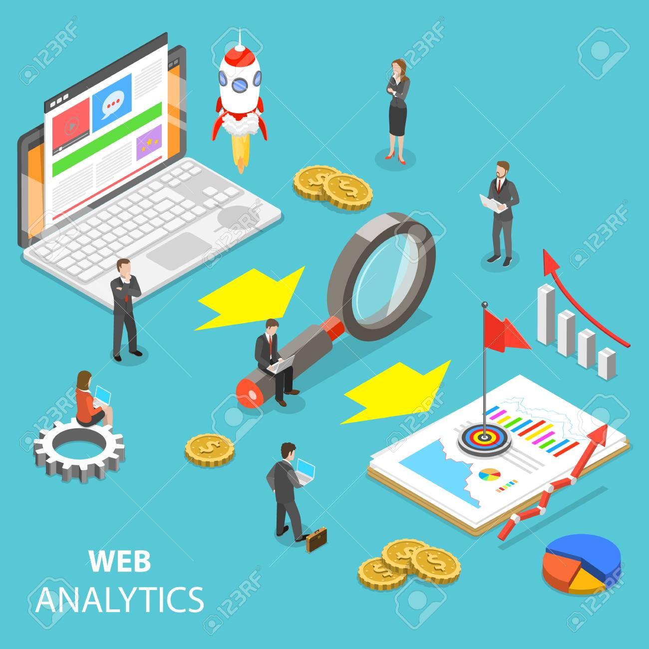 Web analytics flat isometric vector concept. - 101898663