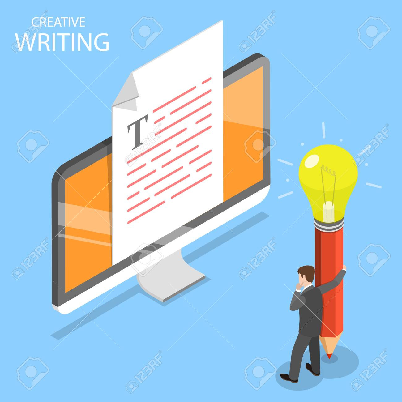 Creative Writing Flat Isometric Vector Concept Royalty Free
